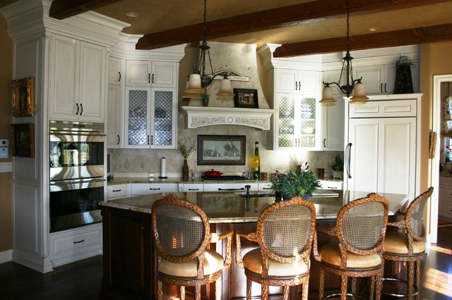 Gourmet White Kitchen w/ Dark Island traditional kitchen