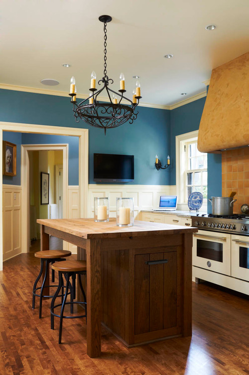 Cerulean Blue Walls With Cream Cabinets And Or Lemon Chiffon Appliances