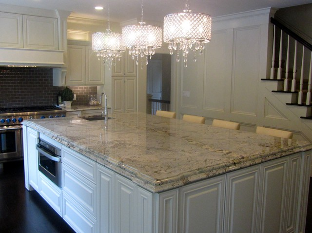 Delightful Granite And Engineered Quartz Countertops Traditional Kitchen