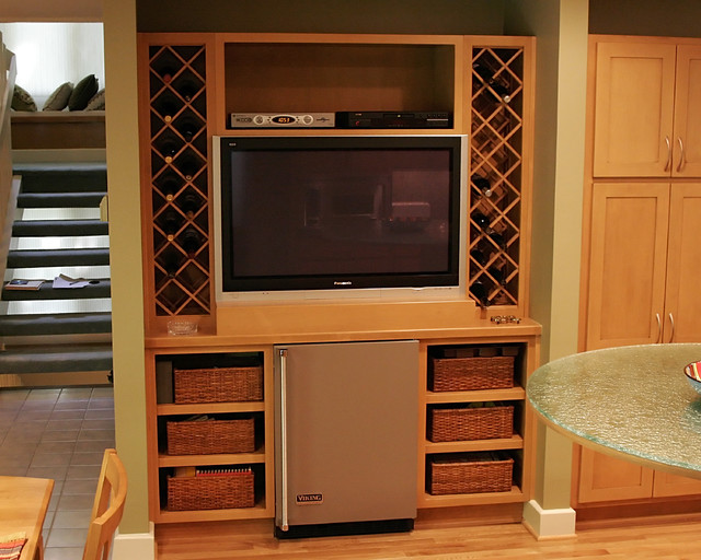 TV, Wine Rack, Mini Fridge in Kitchen - Contemporary - Kitchen - richmond - by Criner Remodeling