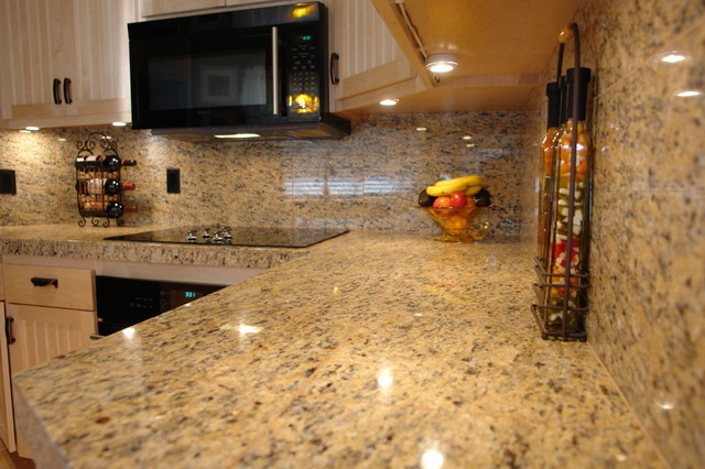 Granite Counters With Full Backsplashtraditional Kitchen San Go