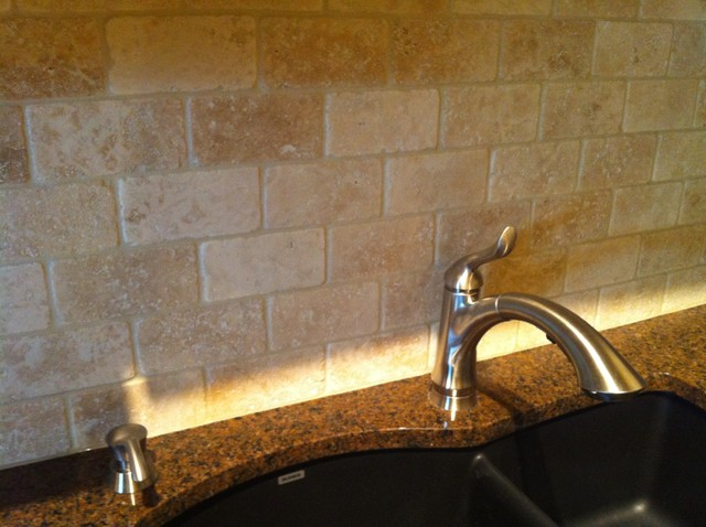 Natural Stone Backsplash granite countertop and natural stone backsplash - traditional