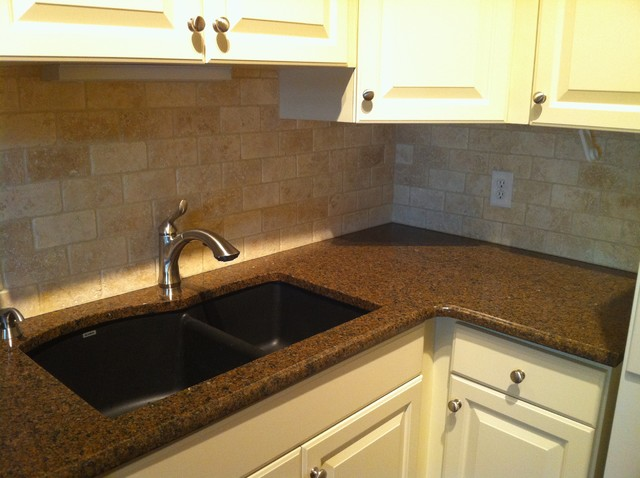 Cost To Remodel A Kitchen: Granite Countertop And Natural Stone Backsplash