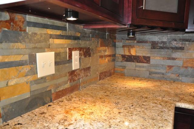 Granite countertop with tile backsplash