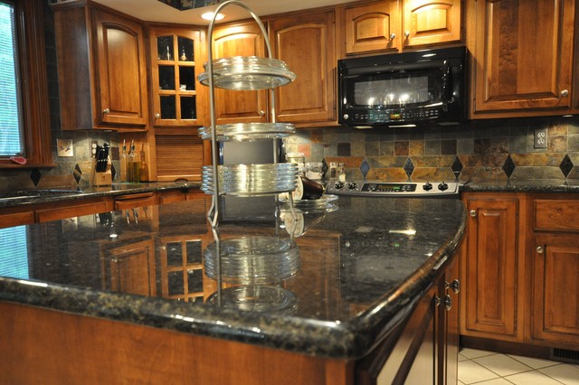 Black Granite Countertops With Tile Backsplash granite countertops and tile backsplash ideas  eclectic  kitchen