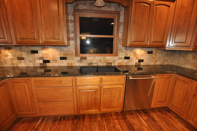 Granite Countertops and Tile Backsplash Ideas - Eclectic ... on Kitchen Backsplash Ideas With Black Granite Countertops  id=36176