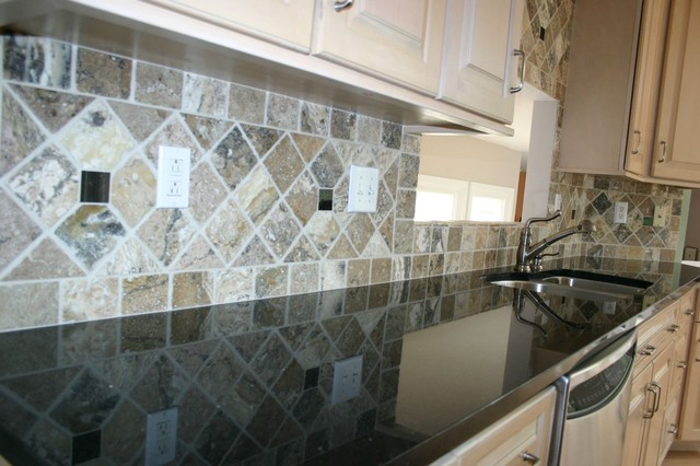 granite countertops and tile backsplash ideas eclectic kitchen black