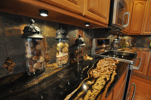 Granite Countertops and Tile Backsplash Ideas eclectic-kitchen