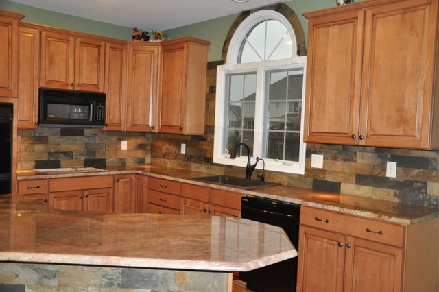 Granite Countertops With Backsplash Stunning Granite Countertops And Tile Backsplash Ideas  Eclectic  Kitchen . Design Ideas