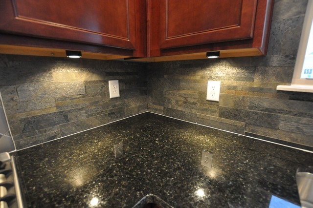 granite countertops and tile backsplash ideas  eclectic  kitchen,