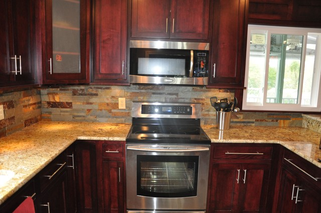 Lovely Granite Countertops And Tile Backsplash Ideas Eclectic Kitchen