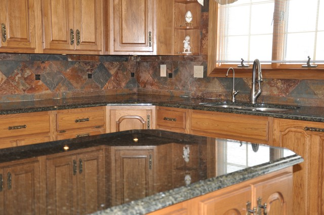 Excellent Granite Countertops And Tile Backsplash Ideas Eclectic Home Remodeling Inspirations Genioncuboardxyz