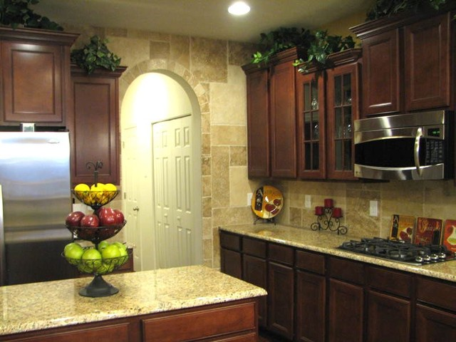 Granite backsplash ideas. orange kitchen with open shelving. green ...