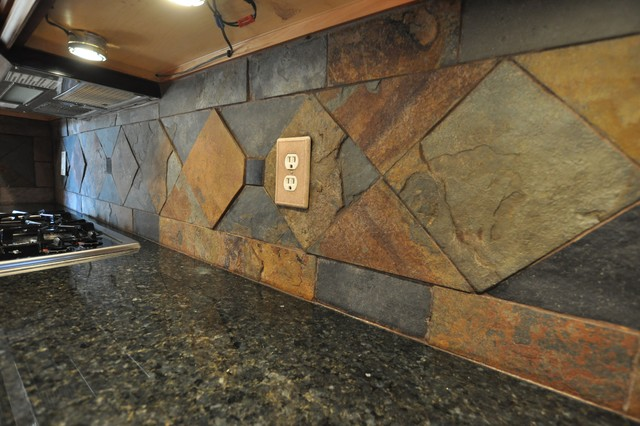 Granite countertops and tile backsplash ideas eclectic - Tile for countertops ideas ...