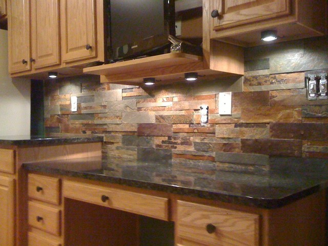 Beau Granite Countertops And Tile Backsplash Ideas Eclectic Kitchen