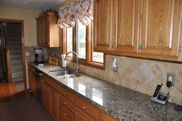 granite countertops and tile backsplash ideas eclectic