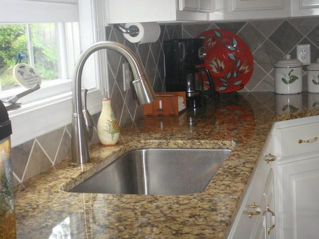 Granite Countertops, Tile Backsplash, Stainless Steel Sink, Brushed Nickel  Fauce Kitchen