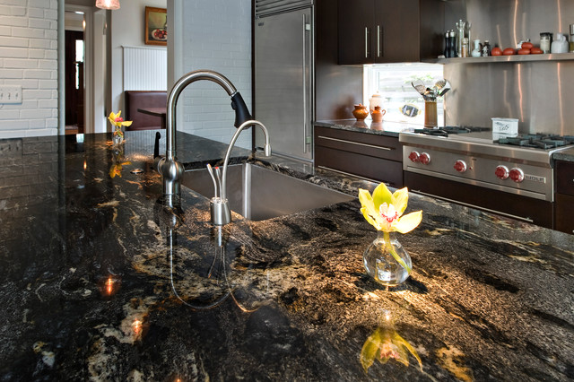 Black Granite Kitchen Countertops granite kitchen countertops - modern - kitchen - dc metro -