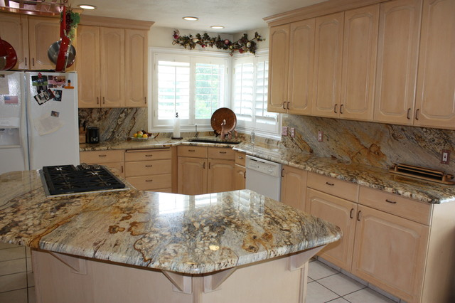 Granite Kitchen With Large Island And Full Granite Backsplash  Traditional Kitchen