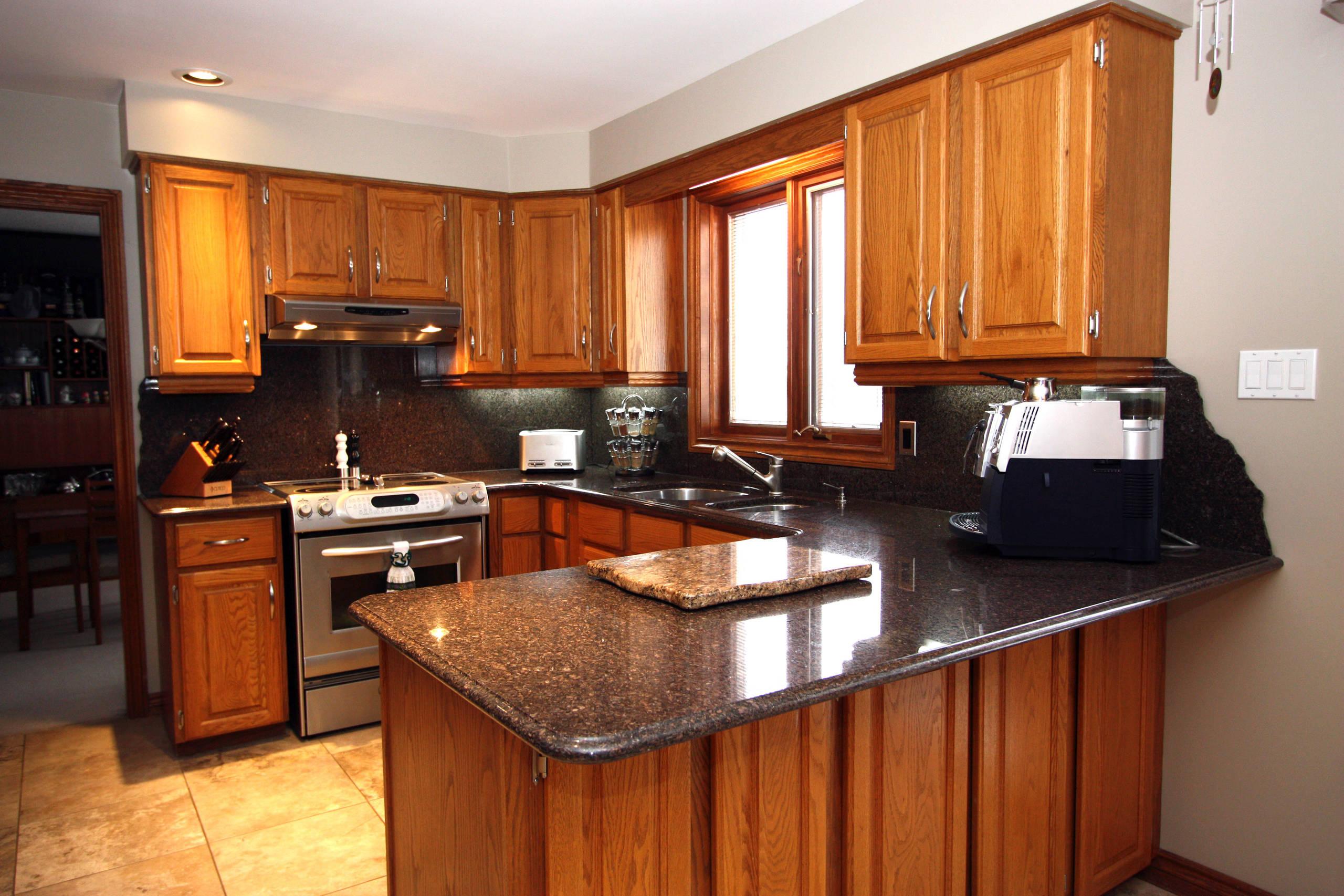 Oak Cabinet With Granite Houzz