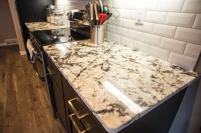 Granite   White Orion Kitchen With Pergamino And White Torroncino  Eclectic Kitchen