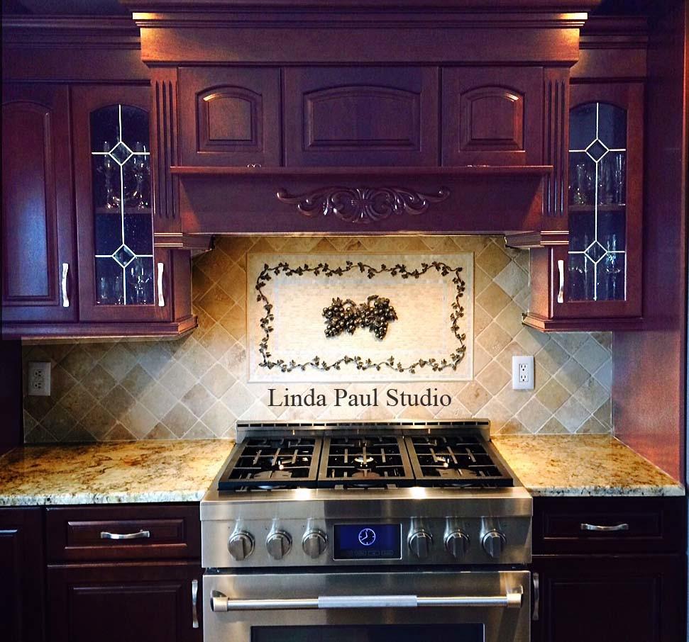 Grape And Vine Kitchen Backsplash Mosaic Tiles And Metal Medallion Transitional Kitchen Denver By Linda Paul Studio
