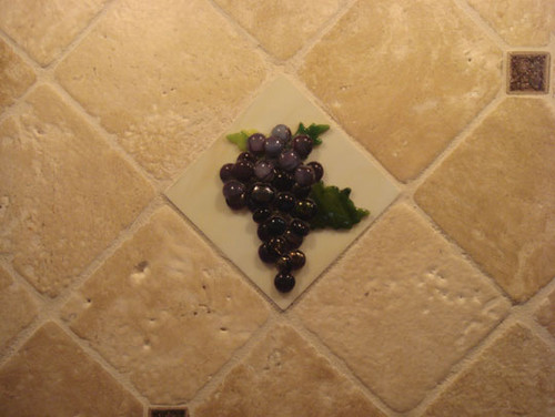 Grapes and Vines Themed Backsplash mediterranean kitchen