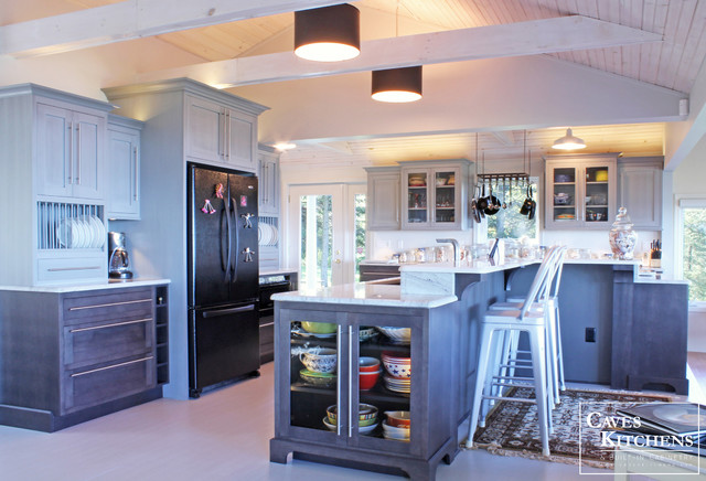Charcoal Beach Kitchen with Double Tiered Island beach style kitchen