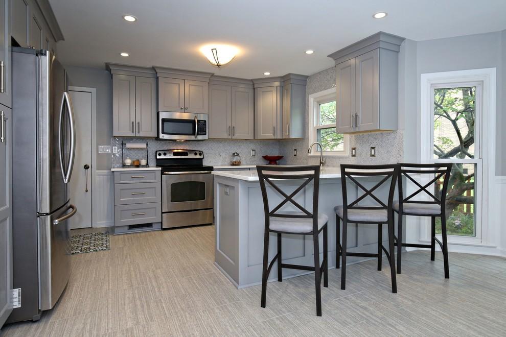 Gray and White Kitchen Design - Traditional - Kitchen ...