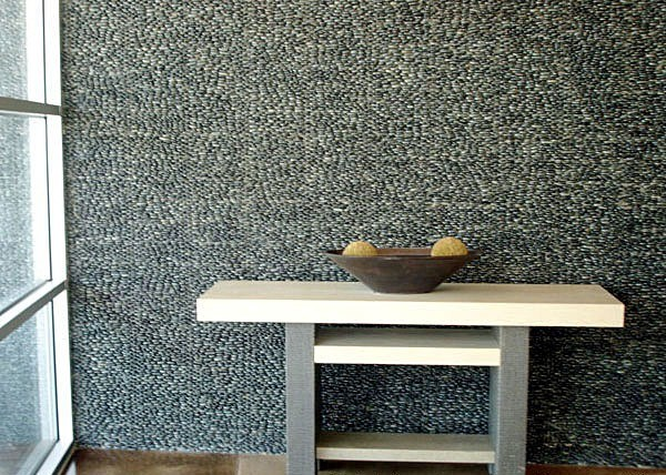 Gray Black Stacked Pebble Tile Wall Modern Kitchen