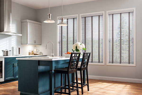 GRAY BLINDS With CLOTH TAPE   Graber Window Blinds   Kitchen Ideas Modern  Kitchen