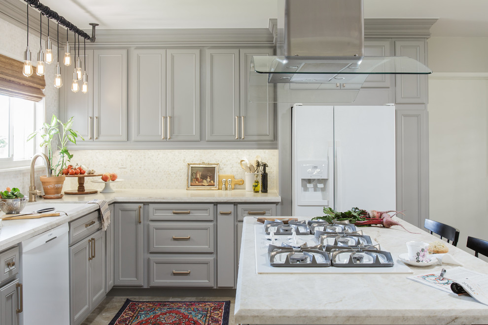 Example of a mid-sized transitional l-shaped porcelain tile and beige floor eat-in kitchen design in San Diego with recessed-panel cabinets, gray cabinets, quartzite countertops, white backsplash, white appliances, an island, a single-bowl sink, mosaic tile backsplash and white countertops