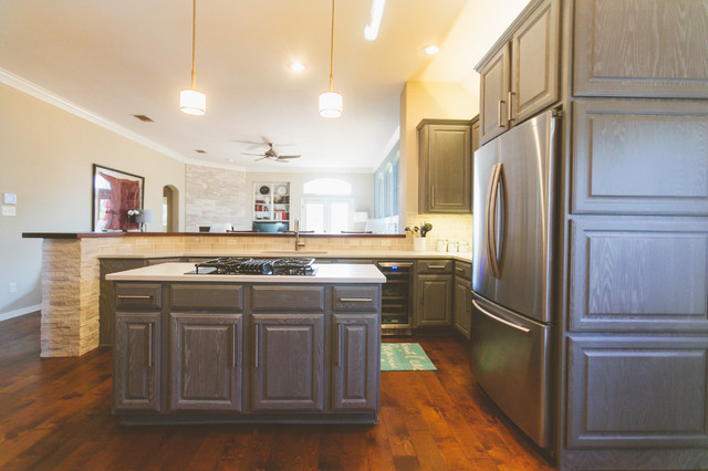 Gray Cabinets Transform a Texas Kitchen - Transitional ...