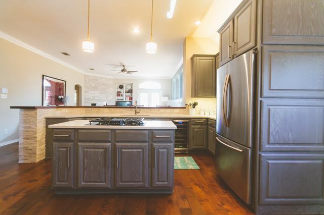 Gray Cabinets Transform A Texas Kitchentransitional Kitchen Austin