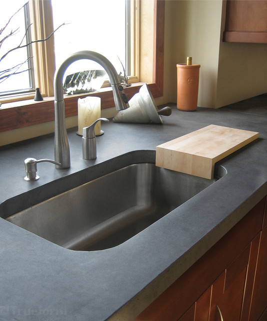 Sink With Countertop: Gray Concrete Kitchen Countertop