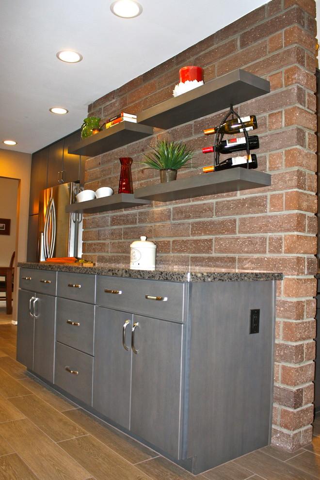 Gray Floating Shelf Kitchen - Contemporary - Kitchen - San ...