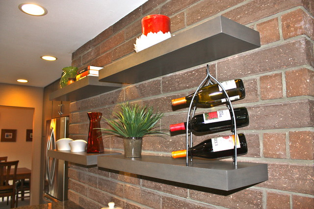 Gray Floating Shelf Kitchen