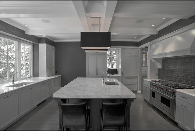 White, black & gray painted kitchen Gray back splash and gray oak
