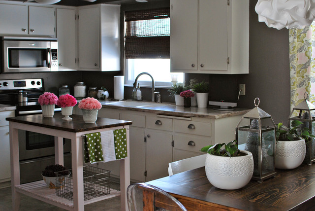 Gray Kitchen with White Cabinets eclectic kitchen