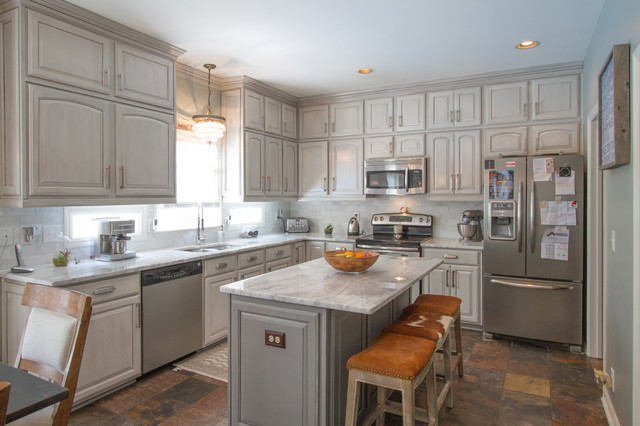 Gray Painted Kitchen Cabinets Transitional