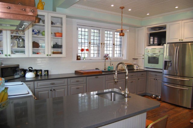 Gray painted kitchen cabinets farmhouse kitchen other metro by