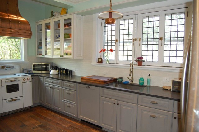 Gray Painted Kitchen Cabinets farmhouse kitchen  Farmhouse New York