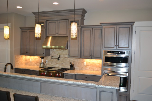 Gray stained cabinets with black glaze traditional for Black and grey kitchen cabinets