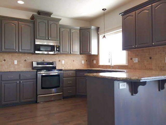 Gray Stained Kitchen Cabinets - Traditional - Kitchen ...