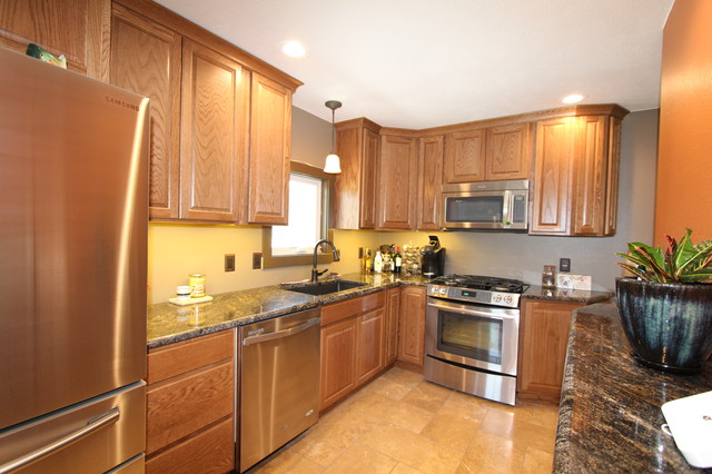 Great bachelor pad remake transitional kitchen omaha for Kitchen remake
