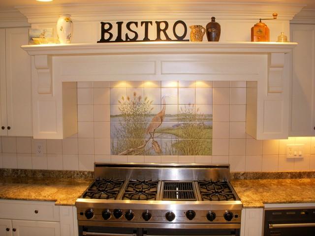 Great blue heron kitchen backsplash tile mural for Backsplash mural tiles