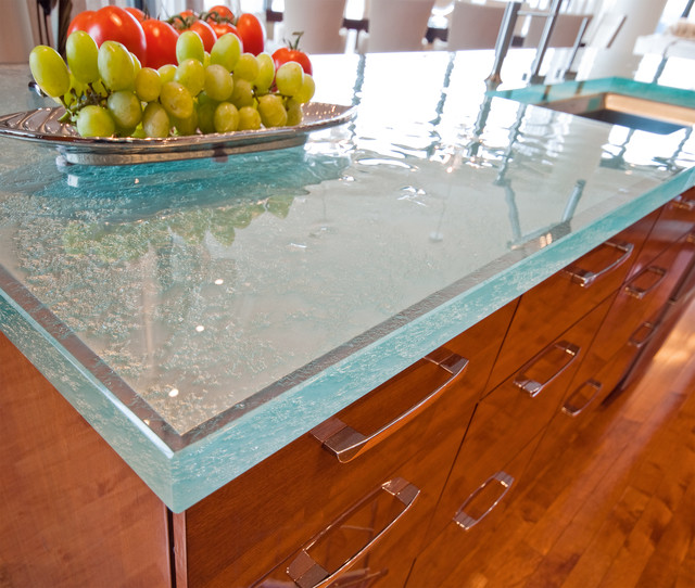 Great Kitchen with Glass Countertop contemporary-kitchen