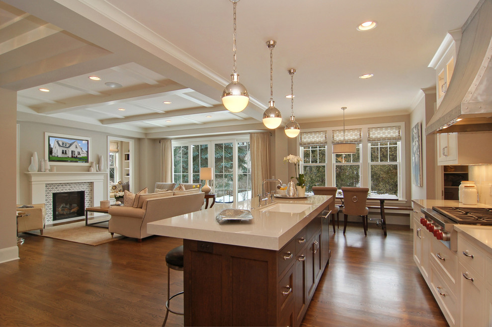 Inspiration for a transitional open concept kitchen remodel in Minneapolis with an undermount sink and white countertops
