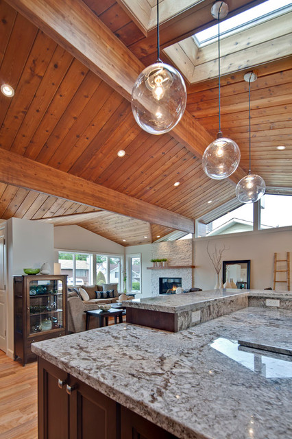 Great Room With Vaulted Wood Ceiling Transitional