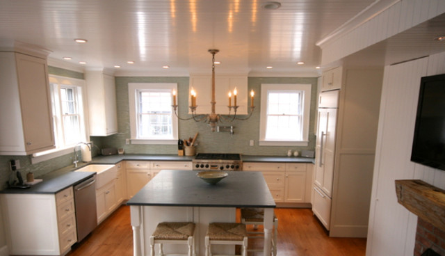 Greek revival new england traditional kitchen other for Greek kitchen designs
